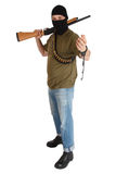 Jail break  robber in black mask with shotgun removing handcuffs Royalty Free Stock Photography