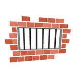 Jail cartoon. Prison grill and wall. Window in prison with bars.  stock illustration