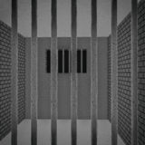Jail cell in full view Royalty Free Stock Image