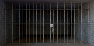 Jail Cell Full View With Keys Stock Photos