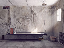 Jail cell interior. Dirty jail cell interior. 3d concept Stock Photography