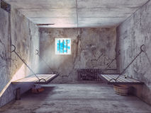 Jail cell interior. Dirty jail cell interior. 3d concept Royalty Free Stock Photos