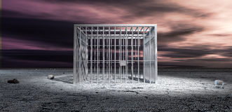 Jail Cell Unlocked In Barren Lanscape. A cubic shaped metal locked jail cell in the middle of a barren landscape under an ominous purple sky stock photos
