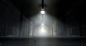 Jail Corridor And Cells. A concept image of an eerie corridor in a prison at night showing jail cells dimly illuminated by various ominous lights Royalty Free Stock Images