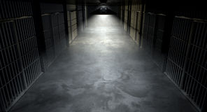 Jail Corridor And Cells Stock Photo