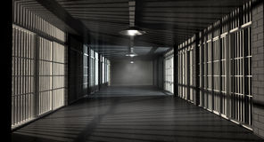 Jail Corridor And Cells. A corridor in a prison at night showing jail cells illuminted by various ominous lights Stock Image