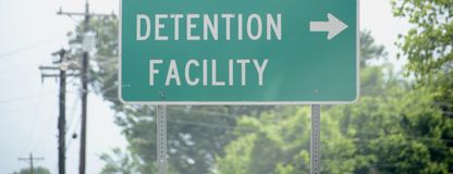 Jail and Detention Center. A Detention Center, houses offenders whom have broken the law or accused of breaking the law and are awaiting a trial and may be royalty free stock photography