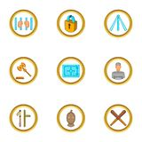 Jail icons set, cartoon style. Jail icons set. Cartoon set of 9 jail vector icons for web isolated on white background Stock Images