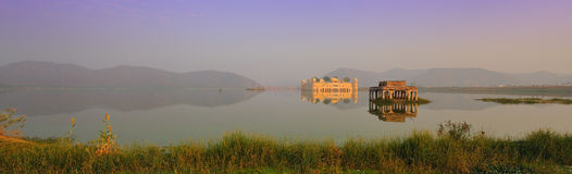 Jail mahal water palace. A panoramic of jail mahal water palace in jaipur in rajasthan,india Royalty Free Stock Photography