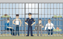 Jail in police. Jail in police building. Guilty people in cell vector illustration