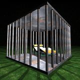 Jail - Prison cell. Illustration by night Stock Photos