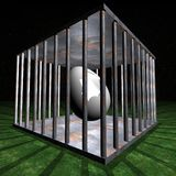 Jail - Prison cell for one egg. Jail - Prison cell illustration by night Royalty Free Stock Photo