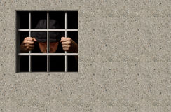 Jail. Prisoner in jail 3D illustration Stock Photos