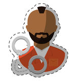jail prisoner with dark skin icon image Royalty Free Stock Images