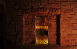 Jail, in the softness of the night. stock images