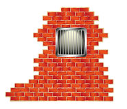 Jail window on brick wall. Jail window with bars on brick wall Royalty Free Stock Image