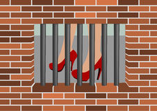 Jail window - female shoes. Female shoes viewed from the jail window vector illustration
