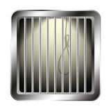 Jail window with a noose. On white background Royalty Free Stock Photo