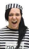 Jailbird. Convicted Lady Jailbird Screams With Her Mouth Wide Open In A Furious Temper Tantrum Stock Photography