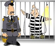 Jailbird and Guard Royalty Free Stock Image