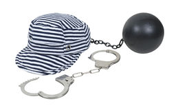 Jailbird Striped Hat with Ball and Chain. Jailbird striped hat worn in vintage jails as part of the uniform with a pair of handcuffs and ball and chain Stock Photography