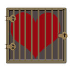 Jailed Heart. Red heart locked up in a crate or jail Stock Photo