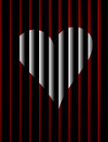 Jailed heart. A white heart behind the bars Stock Photography