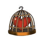 Jailed Love. Love is in a bird cage Royalty Free Stock Image