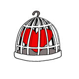 Jailed Love. Vectorel conceptual humorous cartoon about Valentines day and Love Stock Images