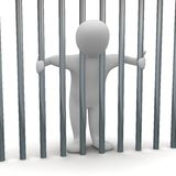 Jailed man in cell Royalty Free Stock Images
