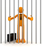 Jailed man in cell. Businessman and cage. 3D render Royalty Free Stock Photos