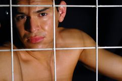 Jailed model Royalty Free Stock Photo