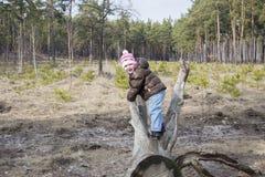 Jaillissez dans une fille de forêt de pin s'asseyant sur le bois de flottage Image libre de droits