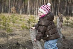 Jaillissez dans une fille de forêt de pin s'asseyant sur le bois de flottage Images stock