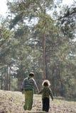 Jaillissez dans une forêt de pin avec la petite soeur de frère tenant des mains Photo stock