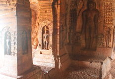 Jain art on the wall of Badami Cave temples, India Stock Photos