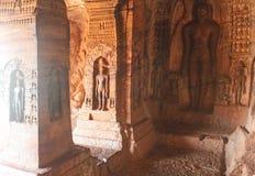 Jain art on the wall of Badami Cave temples, India Stock Photos