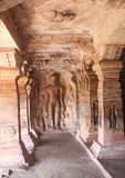 Jain images on the wall of Badami Cave temples, India Royalty Free Stock Photos