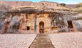 Jain Tempel Siddhachal Monolithe und Carvings in Gwalior, Madhy Stockbild