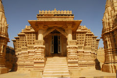 Jain temple. Carved sandstone temple of Jains in Lodurva, former capital of Rajastan, India Royalty Free Stock Images