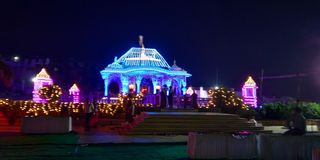 Jain temple. Jain temple decorated on Diwali with bright lights stock image
