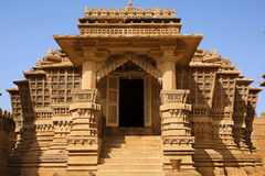 Jain temple of lodruva jaisalmer. In rajasthan state in indi stock photography