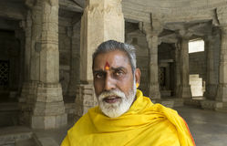 Jain Temple Priest Ranakpur India. Ranakpur, Rajasthan, India - June 18 2015: Portrait of high priest of Jain Temple, Ranakpur. Jainism is an Indian religion Royalty Free Stock Images