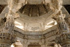 Jain temple in Ranakpur, India. View inside the Jain Rangamba Mai Mandir Temple in Ranakpur, Rajasthan, India Royalty Free Stock Images