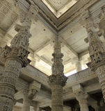 Jain Temple, Ranakpur. Interior of the large Jain temple complex at Ranakpur in Rajasthan, India Stock Photos
