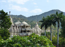 Jain Temple, Ranakpur. The large Jain temple complex at Ranakpur in Rajasthan, India, viewed from the smaller Sun temple Royalty Free Stock Photo