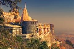 Jain temples in Palitana. Jain temple complex on top of Shatrunjaya hill. Palitana Bhavnagar district, Gujarat, India Royalty Free Stock Images