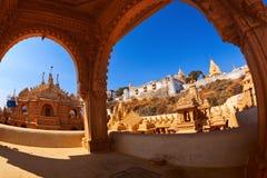 Jain temples on top of Shatrunjaya hill Royalty Free Stock Images