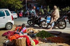 JAIPUR, ÍNDIA - 10 DE JANEIRO DE 2018: Uma mulher está vendendo vegetais na rua imagens de stock royalty free