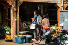 JAIPUR, ΙΝΔΙΑ - 12 ΙΑΝΟΥΑΡΊΟΥ 2018: Φυτικό κατάστημα στην οδό Στοκ Φωτογραφία